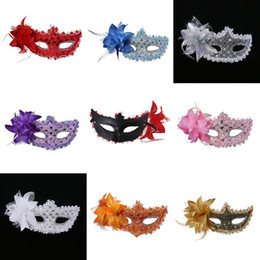 Wholesale Gold Red Masquerade Masks - New Exquisite Lace Rhinestone Leather Mask Masquerade Halloween Party Flower Princess Mask For Lady Purple Red Black Gold Pink Silver M19