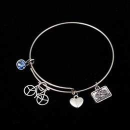 Wholesale Charms For Bracelets Bike - Myshape Cool Fashion Stainless Steel DIY Charms Bracelet Bike And BIKE ROUTE Blue Jewel Heart Pendant Bangle Wristbands For Special Friend