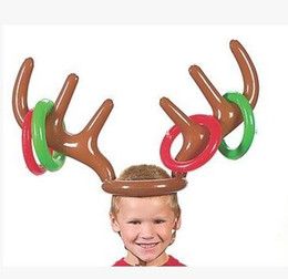 Wholesale Fun Christmas Hats - Inflatable Kid Children Toys Fun Christmas Toy Toss Game Reindeer Antler Hat With Rings Hats Party Supplie