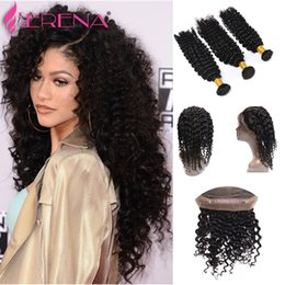 Wholesale Deep Wave Frontal Lace Closure - Pre Plucked 360 Lace Frontal With 3 Bundles Brazilian Virgin Hair Deep Curly 360 Lace Frontal Closure With Bundles Human Hair