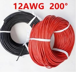 Wholesale Wired Remote Toy - 1 meter Red+1 meter Black 12AWG Heatproof Soft Silicone Cable remote control aircraft large current toy tank wire free shipping
