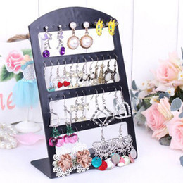 Wholesale Plastic Earring Holders - 48 Holes Jewelry Organizer Stand Black Plastic Earring Holder Pesentoir Fashion Earrings Display Rack Etagere