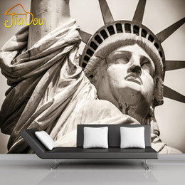Wholesale Photo Print Paper Sizes - Wholesale-Customize Any Size Statue Of Liberty City Landscape Living Room Large Murals 3D Personality Theme Hotel KTV 3D Photo Wallpaper