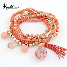 Wholesale Resin Rhinestone Bangle Bracelets - Bohemian Multi Layers Fashion Beads Bracelets & Bangles for Women Tassel Balls Men Brazaletes Pulseras Mujer Bijoux Femme