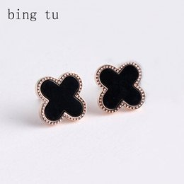 Wholesale Bing Plate - Bing Tu Exquisite Cute Gold Color Four Leaf Clover Stud Earrings Fashion Brand Women Earring Costume Accessories pendientes