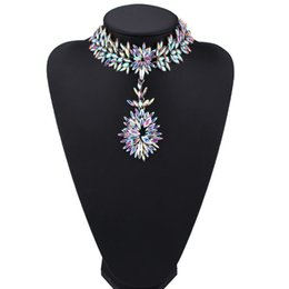 Wholesale Luxury Statement - hot sale high quality Fashion jewelry lady woman luxury full rhinestone diamond crystal pendant designer statement choker necklace