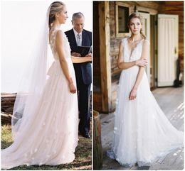 dreamlike wedding dress prices - Blush Pink Rustic Wedding Dresses Dreamlike Deep V-neck Backless Tulle Bridal Gowns Country Style Garden Beach Bride Dress vestidos de novi