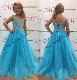 Ata para arriba el vestido del desfile del niño online-Pretty Girls Toddler Infant Pageant Dresses 2019 Lace Up Back Light Sky Azul Cristales Rhinestones Bling Little Baby vestido de cumpleaños
