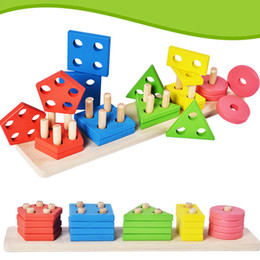 Wholesale Puzzle Block Game - New Montessori Geometric Intelligence Board Shape Sorting Stacker Matching Building Blocks Kid Wooden Column Stacking Game Baby puzzle Toys