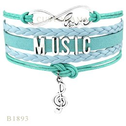 Wholesale Wrap Bracelet Wholesaler - Custom-Infinity Love Music Note Charm Wrap Bracelets Christmas Gifts Women Fashion Bracelets Black Blue Wax Suede Leather Bracelets