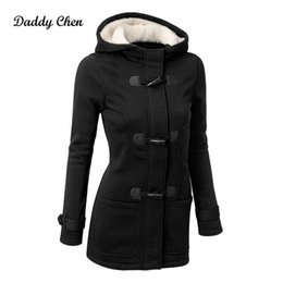 Wholesale Hooded Trenchcoat - Wholesale- Fashion long trench coat for women Spring Autumn Overcoat Female Long Hooded Zipper Horn Button Outwear trenchcoat XL