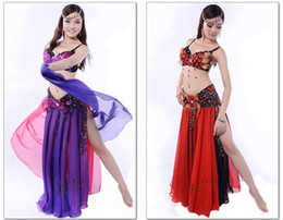 Wholesale Bras Skirts Set - 2017 Belly Dance Costume Set 3PCS Bra&Belt&Skirt Women Ropa De Danza Del Vientre Lady Bellydance Stage Wear Performance Costumes