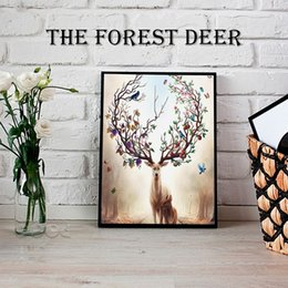 Wholesale Animal Canvas Wall Art - Sales promotio sika deer Canvas Painting Nordic Animals Poster Pop Wall Art Prints Scandinavian Decoration Pictures No Frame Home Decor