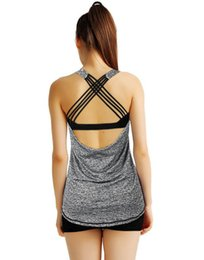 Wholesale fake two pieces jacket - New Female Vest Cross Bandage Fake Two Pieces With Bra Sports Jacket Fitness Shock Fitness Clothing