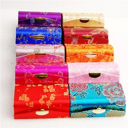 Wholesale Small Decorative Gift Boxes - Mirrored Portable Small Travel Jewelry Case Silk Brocade Earring Ring Necklace Gift Box Decorative Packaging Boxes 12pcs lot mix color