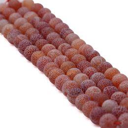 6mm 8mm 10mm Perle di agata smerigliata rossa con speciale struttura rotonda pietra preziosa all'ingrosso filo pieno 15,5 pollici da perline all'ingrosso smerigliate fornitori