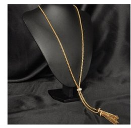 Wholesale Double C Pendant - Celebrity Style Brand J. C New Long Sweater Chain 18k Gold Plated Double Fringed Tassels Pendant Necklace Lariat Tattoo Punk Gothic Chocker