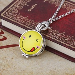 Wholesale Blinking Necklaces Wholesale - Stainless Steel Interested Exquisite EMOJI Eye Blink Smile Face With Perfume Film Pendant Essential Oil Necklaces Jewelry For Woman & Man