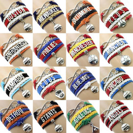 Wholesale Infinity Heart Pendant - 2018 NEW Infinity Lether Bracelets Woven Letter Pendant Hand Chain Love Baseball Team Multilayer Adjustable Bracelet Jewelry Accessories