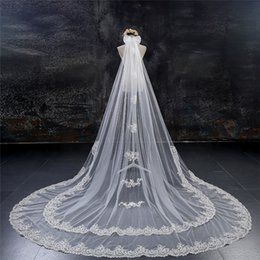 Wholesale Double Layer Long Veils - In 2016 the new double lace 3 meters long widening trailing white yarn the bride marriage yarn accessories