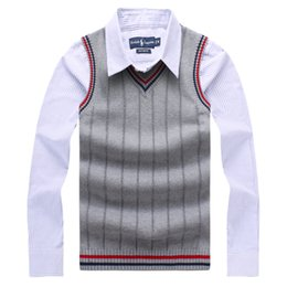 Wholesale Mens Casual Vests Style - 2017 High-grade New Fashion Knitted Vest Winter Mens Pullove Knitted Sweater Sleeveless V-Neck Casual Mens Sweaters And Pullovers Size M-3XL