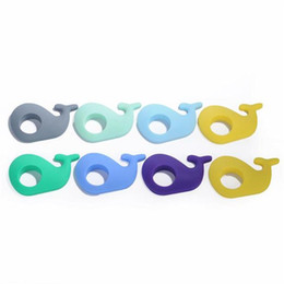 Wholesale Diy Animals For Baby - Baby Teether Silicone Whale Pendant Teething Necklace Food Grade Silicone Teething Beads DIY Chew Nursing Toy Teethers for Necklace