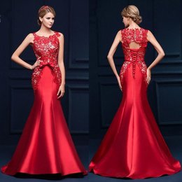 Wholesale Elegant Designers Dress - 2017 New Elegant Red Lace Mermaid Evening Dresses Cheap Formal Lace Up Back Prom Party Gowns CPS385