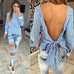 Wholesale Dolman Top Large - 2017 Backless Bandage Sexy Women Shirt Blouse Large Size Long Sleeve Striped Elegant Cute Shirts For Women Summer Blouses Top