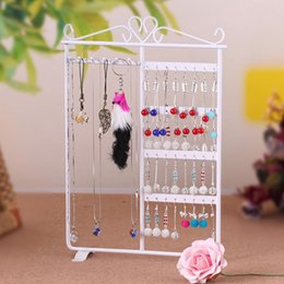Wholesale Earrings Ring Stand Holder - Women Wrought 32 Hole Earrings Jewelry Display wall mounted frame Rack Metal Holder Iron Convenient Jewelry Showcase 3 colours