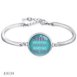 Wholesale Finish Bangle Silver - Adjustable Silver Finish Open She Blieved She Could And So She Did Bangles Bracelets for Women Glass Cabochon Chain Charm Bracelet Jewelry