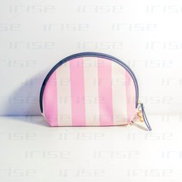 Wholesale tote bags stripped - Fashion brand shell cosmetic case luxury makeup organizer bag beauty toiletry travel bag clutch purse strip tote pouch boutique VIP gift