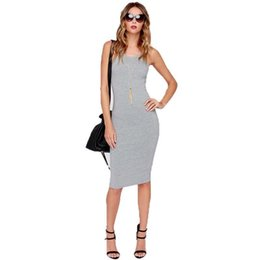 Wholesale Sexy Collared Vest - Bodycon Dresses Summer Dress Women Mid Calf Dresses Fashion Vest Dress Sexy Sleeveless Split Round Collar Tight Dress