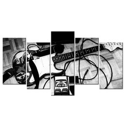 Wholesale Black Artwork Pictures - Electric Guitar Black and White Photography Giclee Print Musical Instrument Canvas Print Picture Wholesale Canvas Artwork