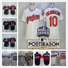 Wholesale Navy Blue Brown - Cleveland Indians #24 Andrew Miller Time #28 Corey Kluber #10 Edwin Encarnacion Gray Navy Blue white Stitched 2017 Postseason Patch Jerseys
