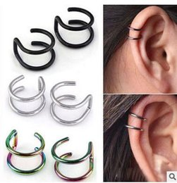 Wholesale Cheapest Clip Earrings - Cheapest no hole simple double c u shaped ear clip-on earrings letter Lip nose clip-on screw back many colors can choose