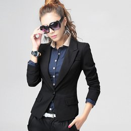 Wholesale Korean Women Blazers - New 2017 Women Blazers and Jackets Female Slim Coat Korean Style Single Button Black feminino Work Wear Blazer Femme Plus Size S-2XL