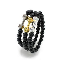 Wholesale Fitness For Life - Wholesale-Charm Dumbbell Bracelets For Women Men Jewelry New Arrival Black Bead Fitness Fit Life Prayer Barbell Buddha Bracelet Handmade