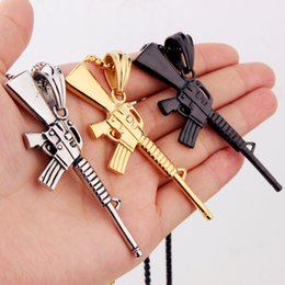 Wholesale New Model Necklace - 76mm*29mm New Cool Stainless Steel Model Fire Weapon M16 Submachine Gun Pendant Mens Necklace