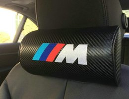 Wholesale Power Racing Seats - 2pcs power M racing auto truck Black racing embroidery Carbon Fiber Circular Car Seat Neck Cushion Pillow Headrest for BMW