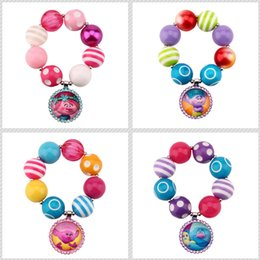 Wholesale Cartoon Beaded Bracelets - 5styles Trolls Arylic Beaded bracelet Poppy Creek Suki Biggie Uglydolls cartoon Brace lace Kids Gifts Party toys sales promotion gifts
