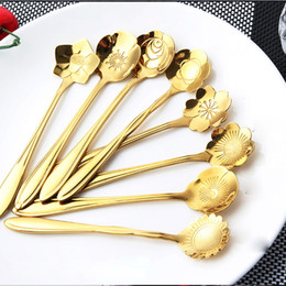 Ghiaccio senza zucchero online-8 stile di colore in acciaio inox cucchiaino da caffè cucchiai da tè a forma di fiore gelato cucchiai da cucina cucchiaio di zucchero dhl libero JU014