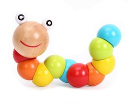 Wholesale Toy Colorful Caterpillars - Wholesale- BOHS Wooden Wiggling Worm Rainbow toy Twistable Colorful Rainbow Twist Caterpillar, Baby Finger Dexterity Training Toy