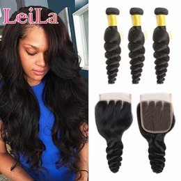 Wholesale Cheap 28 Inch Hair - Peruvian Loose Wave Hair 3 Bundles With Lace Closure Cheap Hair Extensions Hai Weave Free Part Lace Closure Virgin Hair