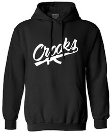 Wholesale Crooks Castles Clothing - Wholesale-2016 autumn winter Crooks and Castles letter print hooded for men black streetwear hombre hip hop male fashion brand-clothing