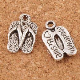 Wholesale Made Love Charm Wholesale - Flip Flops Made With Love Spacer Charm Beads 300pcs lot Antique Silver Pendants Alloy Handmade Jewelry DIY 12.6x9.4mm L401