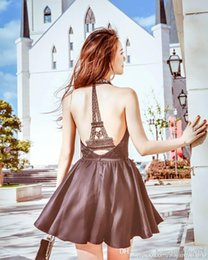 Wholesale eiffel tower buttons - New design fashion women's personality sexy rhinestone crystal halter neck sleeveless dress back Eiffel Tower lace hollow out sexy dress
