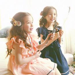 Wholesale Dress Lapel Long Sleeve Princess - summer New Children Princess Girls Floral Printed Dress Kids Lapel Lace Ruffle Long Sleeve Pleated Dress Girls Tench wt515
