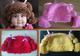 Wholesale Knitted Hats Pigtails - Handmade Crochet Baby Girl Wigs Cabbage Patch Pigtail Hat Newborn Infant Toddler Princess Curly Hair Knitted Cap Children Beanie 100% Cotton
