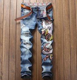 Wholesale fly patch - Mens Straight Denim Jeans Cranes Embroidered Hole Patches Hip Hop Blue High Quality #885