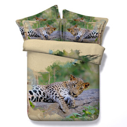 Wholesale Leopard Print Comforter Set Cotton - Fashion Sleeping Leopard 3D Printed Bedding Sets Twin Full Queen King Size Bedspreads Bedclothes Duvet Covers Pillow Shams Comforter Animal
